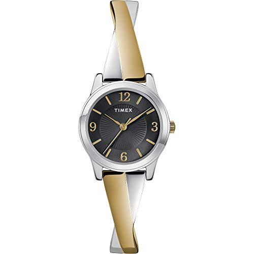Timex Women's TW2U30000 Stretch Bangle Crisscross 25mm Two-Tone/Black Expansion Band Watch