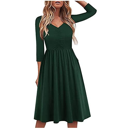 GFGHH Vestido de mujer de manga larga, informal, cuello en V, largo hasta la rodilla, elegante, para fiestas, tiempo libre, vestido de noche, vestido de cctel, vestido suelto, verde, M