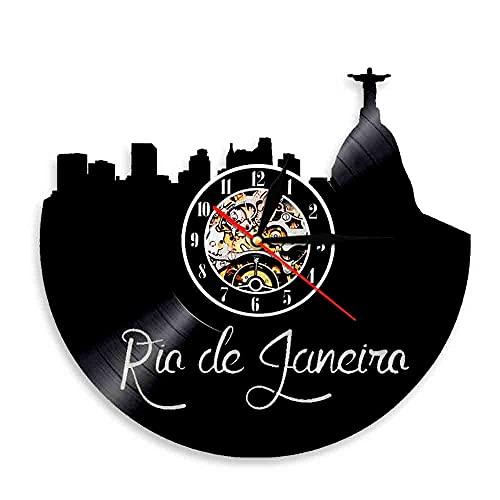 Tbqevc Reloj de Pared de Río de Janeiro con Vista a la Ciudad, Reloj de Pared con Disco de Vinilo para Hombre, Vista de la Ciudad, Cristo Redentor, 12 Pulgadas