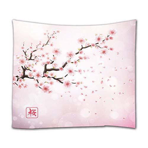 A.Monamour Tapices de Pared Japón Rama De Cerezo con Flores Rosadas En Flor Sakura Fondo Floral Romántico Boho Hippie Mandala Colgante De Pared Tapiz Mural Arte Decoraciones Tela Mantel 153x203cm