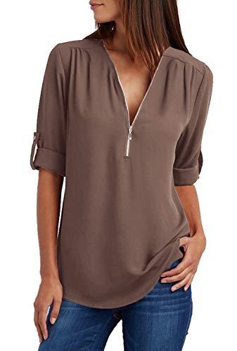 Damen Chiffon Blusen Elegante Reißverschluss Langarmshirts Bluse Tunika Oberteile T-Shirt V-Ausschnitt Tops Kaffee XL