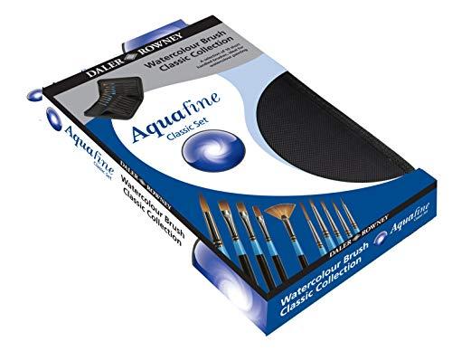 Set di 10 pennelli per acquerello in pratico astuccio con zip - Aquafine Classic, di Daler Rowney - prezzo imbattibile
