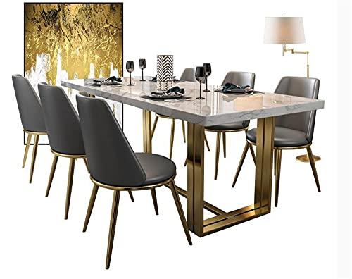 SHUJINGNCE Table de Salle à Manger de marbre Nordique et Combinaison de Chaise Table de Salle à Manger rectangulaire (Color : 140x80cm)