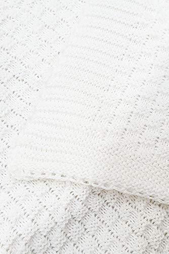 Wallaboo Babydecke Eden, Aus 100% Bio Baumwolle mit Zopfmuster, Kuscheldecke, Krabbeldecke,  Pückdecke, Schön gestrickte und kuschelweiche Babydecke, 90 x 70 cm, Farbe: Weiß