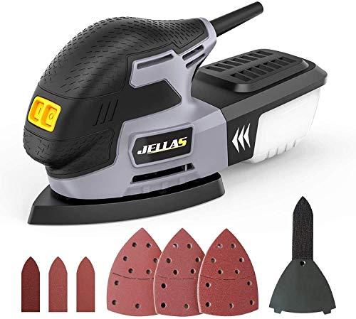 Jellas Levigatrice 13000 RPM, Levigatrice Mouse Multifunzioni 220W con Scatola Raccolta di Polvere, Tampone Levigatrice a Dito Integrata MS220