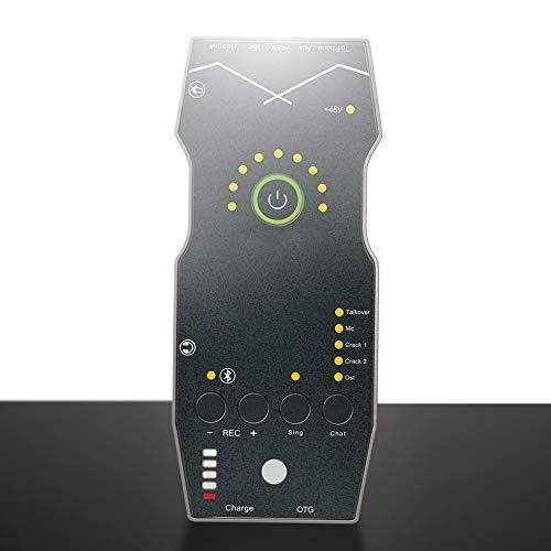 LQQ Audio Mixer - Akku/USB-fähige tragbare Pocket Audio Mixer Soundkarte 48 V Phantomspeisung, für Rundfunk im Freien, jederzeit und überall singen (Set Meal : GDGrenade)