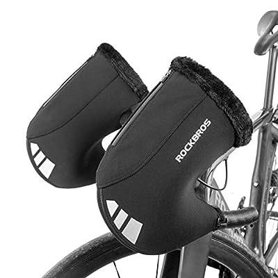 ROCKBROS Handlebar Mitts Road Bike Bar Mittens Cold Weather Pogies Windproof Bike Bar Warmers for Winter Riding