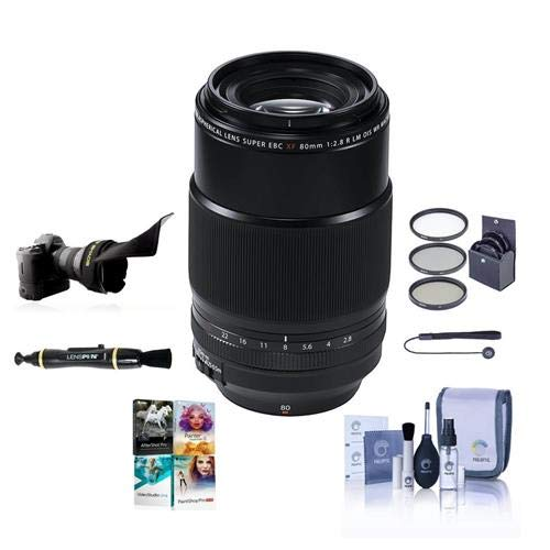 Fujifilm XF 80mm (122mm) F/2.8 R LM OIS WR Macro Lens, Black - Bundle with 62mm Filter kit, Flex Lens Shade, Capleash, Lenspen Lens Cleaner, Cleaning Kit, Pc Software Package