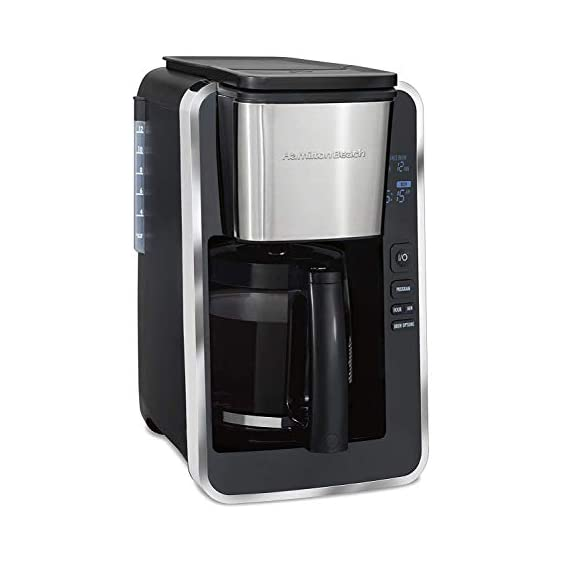 Hamilton beach programmable coffee maker, 12 cups, front access easy fill, pause & serve, 3 brewing options, black… 1 front access for easy filling fill the water tank from the front of the machine, not just the back front-access makes it easy to keep the coffee maker under the cabinet when in use swing out brew basket easier to fill and keep clean than a top load basket. Nonstick hot plate programmable clock set your brew time and strength in advance, and get peace of mind with a 2 hour automatic shutoff