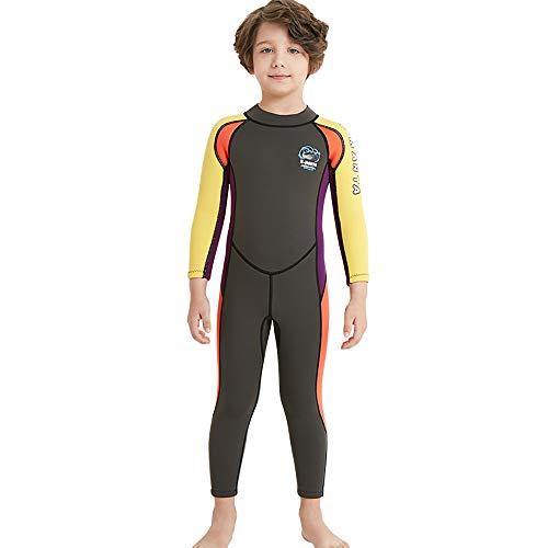 YAMTHR Kids Wetsuit 2.5mm Premium Neoprene Shorty Full Swimsuit One Piece UV Protection for Toddler Baby Children and Girls Boys (Boys Fullsuit 2.5mm / Army Green, Kids M Size)