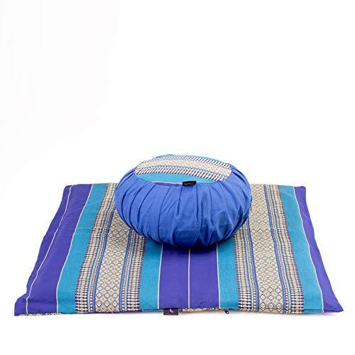 Leewadee Set de meditación con Funda – Cojín Zafu y colchoneta Zabuton de meditación y Yoga, Asiento tailandés de kapok Natural, Set de 2, Azul