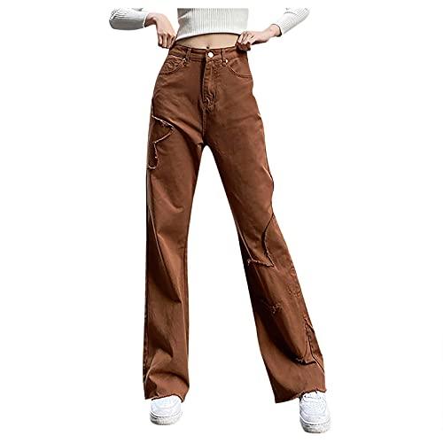 Eauptffy Jean Baggy Y2K pour femme - Taille haute - Coupe large - Mode - Loose Flare - Crayon droit - Bodycon - Baggy - Pantalon de loisirs - Jeans boyfriend
