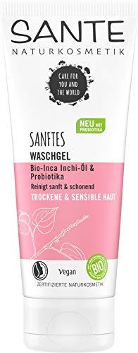 Sante Naturkosmetik Sanftes Waschgel Bio-Inca Inchi-Öl & Probiotika, Reinigt sanft und gründlich, Für empfindliche Haut, Spendet Feuchtigkeit, Kein Austrocknen, Vegan, 100ml