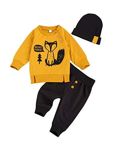 Bebé Chándal 3 Piezas Conjunto de Ropa para Recién Nacido Traje Sudadera de Manga Larga y Estampado de Zorro + Pantalones Largos + Sombrero Ropa de Otoño Invierno para Niños (Amarillo, 6-12 Meses)