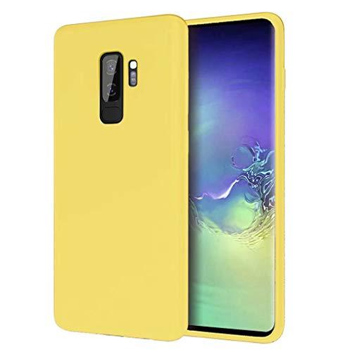 NiaCoCo Kompatibel mit Samsung Galaxy S9+/S9 Plus Hülle Ultradünn Flüssiges Silikon Weicher Mikrofaser Stoff Futter Pad Kratzschutz Handyhülle+1PCS Displayschutzfolie - (Gelb)