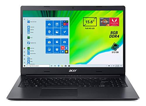Acer Aspire 3 A315-23-R6YM Pc Portatile, Notebook con Processore AMD Ryzen 5 3500U, Ram 8 GB DDR4, 512 GB PCIe NVMe SSD, Display 15.6  FHD LED LCD, AMD Radeon Vega 8, Windows 10 Home, Nero