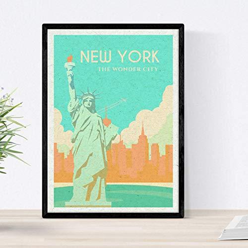 Nacnic Lámina de Nueva York. Estilo Vintage. Poster Estatua de la Libertad en Colores. Anuncio Estados Unidos Tamaño A3 con Marco