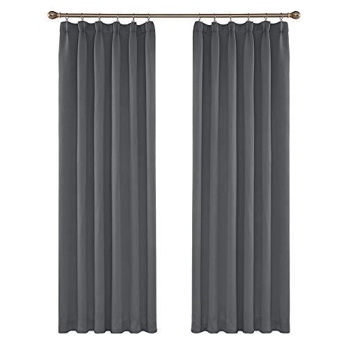 Amazon Brand – Umi 2 Schals Verdunklungsvorhang Blcikdicht Gardinen Smokband Vorhang 245x140 cm Grau