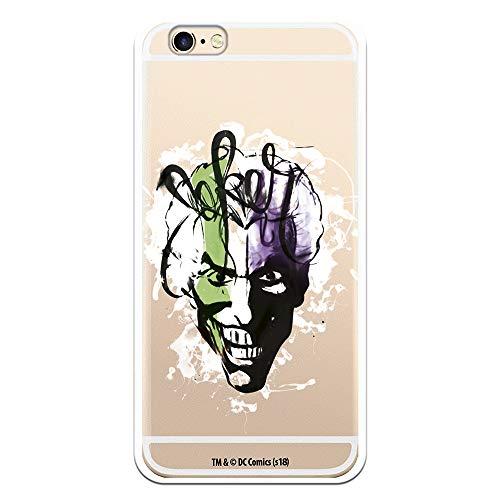 Funda para iPhone 6-6S Oficial de DC Comics Joker Rostro Transparente para Proteger tu móvil. Carcasa para Apple de Silicona Flexible con Licencia Oficial de DC Comics.