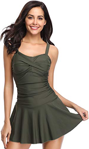 SHEKINI Women's Crossover Ruched Skirt One Piece Swimdress Swimsuit Bathing Suit (Army Green, Small)
