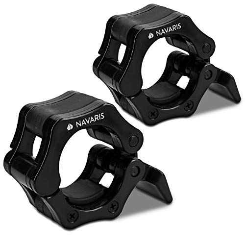 Navaris 2X Abrazaderas para Levantamiento de Pesas - Par de topes para Barra olímpica - Abrazadera para Halterofilia Crossfit con Bloqueo de 25MM