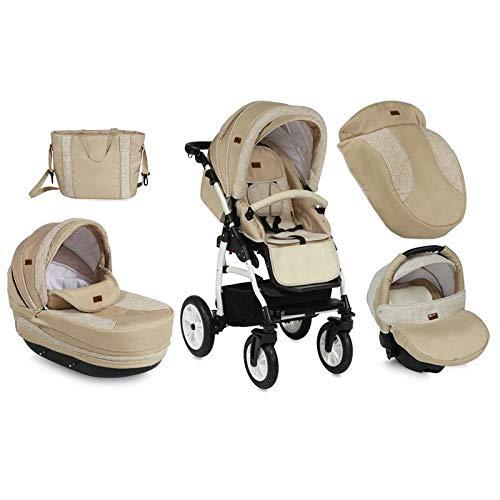 Lorelli kinderwagen 3-in-1 kara banden, autostoel, regenbescherming, luiertas, kleur: beige