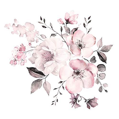 ROERDTRY Blumen Wand Aufkleber Rosa weiße Aquarell Pfingstrosen Blumen Wand Aufkleber Hauptdekor Blumengruppe Wandaufkleber Aquarell rosa Blumengruppe Wandaufkleber küchenrückwand fliesenfarbe