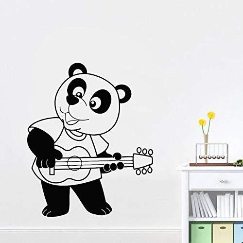 yaonuli Panda cartoon muur stickers kinderen slaapkamer spelen gitaar home decoratie schattige muurschildering stickers