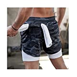 Elite Quick Dry Fitness Shorts, Men'S 2-In-1 Workout Running Shorts Gym Yoga Training Sport Short Pants with Phone Pocket and Towel Loop (XL,Gray camo)