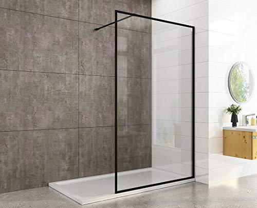 100x200cm Walk in Duschwand aus 8mm ESG Sicherheitsglas mit Nano-Beschichtung Walk in Dusche Duschabtrennung Duschtrennwand, mit Edelstahlstabilisator, Schwarz Wandprofil
