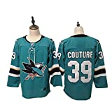 Yajun Logan Couture#39 San Jose Sharks Camisetas Hockey Jersey sobre Hielo NHL Hombre Ropa Respirable T-Shirt de Manga Larga,Blue,L