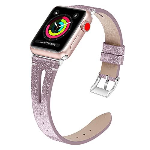 Correa Compatible con Apple Watch, Correa De Repuesto De Cuero Genuino con Hebilla De Metal Inoxidable Compatible con Apple Watch SE Iwatch Series 6 5 4 3 2 1,42mm/44mm