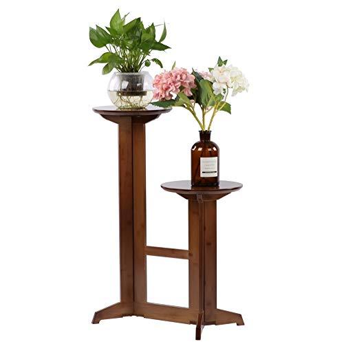 Escalier à plantes à plusieurs étages, 2 niveaux en bambou étagère à plantes plancher étagère à fleurs support de fleurs avec pieds solides pour la décoration intérieure de balcon