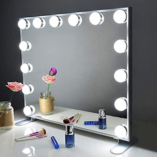 Melur Hollywood Make-up-Spiegel mit LED-Lichtern, Touch-Steuerung, großer Kosmetikspiegel mit Dimmer-LED-Leuchten, Aluminiumrahmen, Tischplatte oder Wandmontage, Kosmetikspiegel Silber