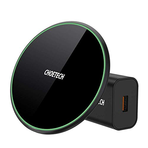 CHOETECH 15W Cargador Inalámbrico Rápido, Qi Wireless Charger con QC 3.0 Adapter, 7.5W para iPhone 12/12Pro/SE 2/11/11 Pro/XS/XR/X/8, 10W para Galaxy S20/S10/S9/S8/Note20/Note10/9, 15W para LG Sony