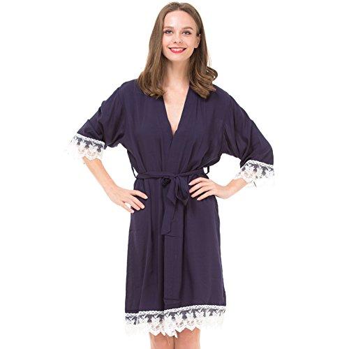 Mr & Mrs Right Damen-Kimono-Bademantel für Braut und Brautjungfer mit Spitzenbesatz und goldfarbenem Glitzerrücken - Blau - Small/4-8 US