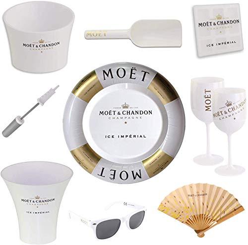 Moet & Chandon Ice Imperial Schwimmende Champagner Bar - Schwimmreifen mit Luftpumpe und Tablett Floating Bar inkl. Sonnenbrille + Accessoire Set (Limited Edition)
