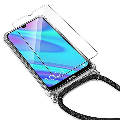 AROYI Handykette Handyhülle + Panzerglas Schutzfolie für Huawei Y7 2019 Hülle mit Kordel zum Umhängen Necklace Hülle mit Band Schutzhülle Transparent Silikon Acryl Case für Huawei Y7 2019 -Schwarz - 6