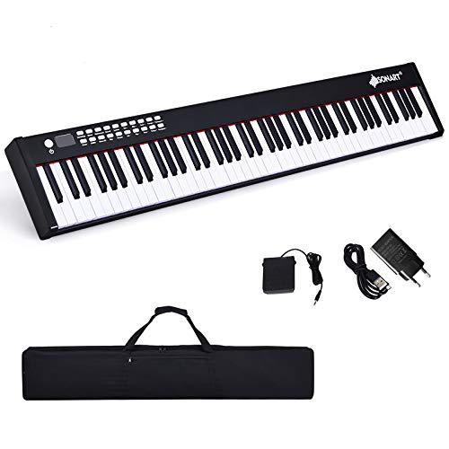 DREAMADE Pianoforte Elettronico Professionale con 88 Tasti Pesati, Tastiera Portatile con Custodia, Interfacce Diverse e Funzione Bluetooth e Registrazione, Funzione Insegnamento per Principianti
