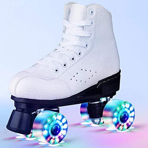 XUDREZ Unisex Rollschuhe Gummi PU Leder - Retro Vier Rollen Rollschuhe für Outdoor, Indoor und Rink Skating Verstellbare Rollschuhe Stiefel (Weiß mit Licht, 37 EU))