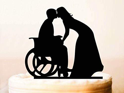 Cheyan Rollstuhl-Tortenaufsatz, Bräutigam im Rollstuhl, Hochzeitstorte, Silhouettebride Bräutigam Topper Rollstuhl Hochzeit