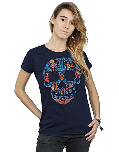 Disney Mujer Coco Skull Pattern Camiseta Small Armada