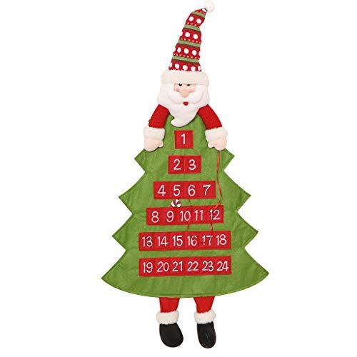 Dibor - Calendario de adviento con Cuenta Regresiva para Colgar en la Pared, diseño de Papá Noel