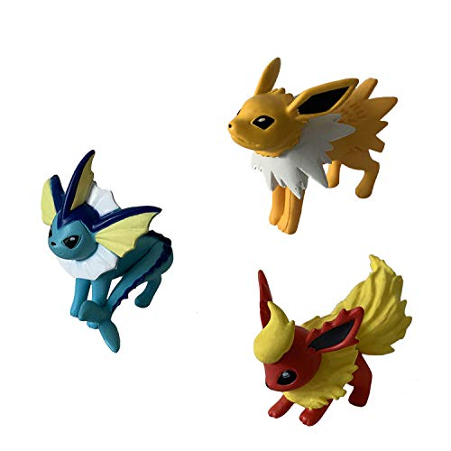 Pokémon Battle Action Pose 3 Figurines Pack, Evolution Multi Set Collection Pocket Monster Action Figure (Flareon, Jolteon and Vaporeon)