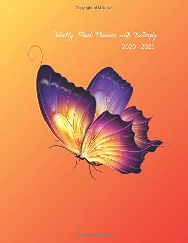 Weekly Meal Planner with Butterfly 2020 - 2022 : Awesome notebook , diary with a Butterfly Design for adults Size 8.5 x 11 inch (21.59 x27.94 cm)