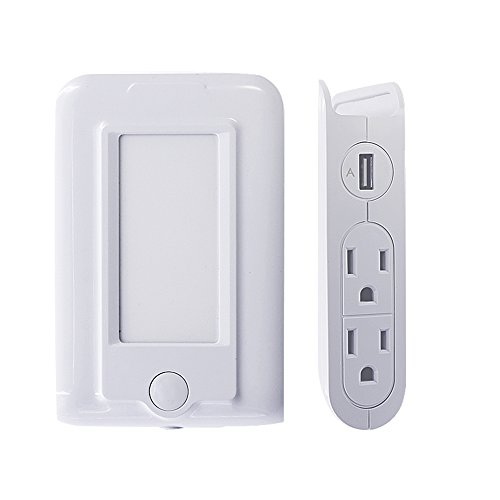 Plug in LED Night Light with Dusk to Dawn Sensor for Adults Kids, Surge Protected Power Strip with 2 USB Ports and 4 AC Outlets, USB Wall Charging Station Power Socket with Phone Holder by SMOODEN