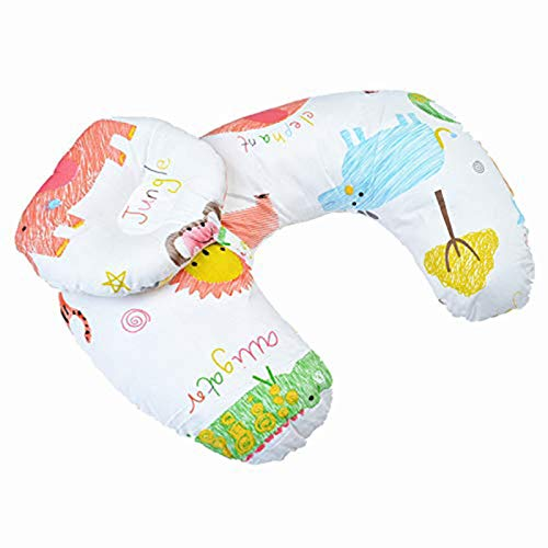 Baby Breastfeeding Nursing Pillow and Positioner, Machine Washable Cotton Blend Fabric Infant Support Pillow Bonus Head Positioner