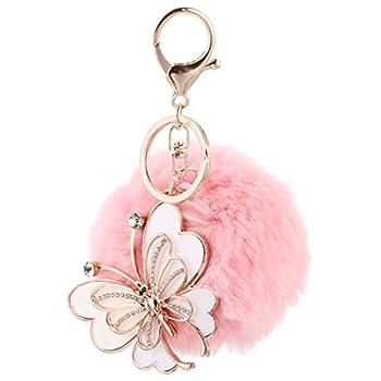 PRETYZOOM Butterfly Pom Pom Keychain Artificial Fur Ball Keychain Fluffy Accessories Car Bag Charm Fuzzy Ball Pendant