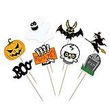 Bestonzon 48 pezzi Cupcake Toppers Halloween decorazione torte Topper zucca Design Picks Muffin Topper Suppliy per bambini compleanno Festival Party