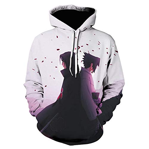 JNBGYAPS Kapuze 3D Anime Naruto Hoodie Sweatshirt Print Tops Harajuku Herren Kleidung Männer / Frauen Japanische Streetwear Weiße Hoodies-We-1441_Size_S